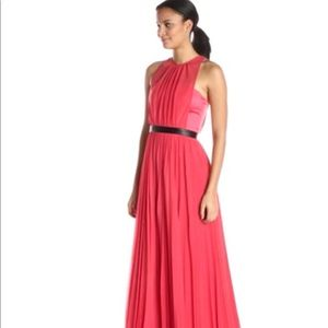 ABS coral Sheer Gown with Pleated Skirt